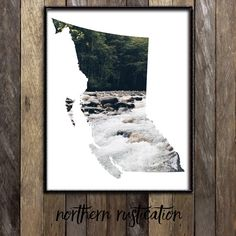 Vancouver Art - British Columbia Map Vancouver Island Victoria Whistler Canada - Vancouver Poster - BC Map Forest Photography River Print