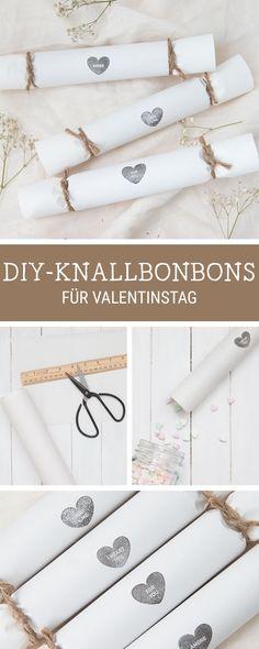 Süße Geschenkidee für den Valentinstag: Knallbonbons für kleine Überraschungen / diy idea for the Valentine's Day: romantic cracker via DaWanda.com