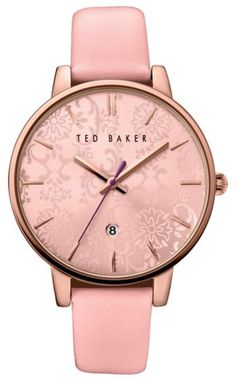 Rose gold and pink leather ladies wristwatch by Ted Baker