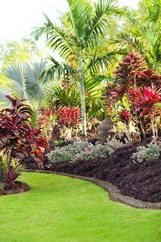 Tropical garden Ideas, tips and photos. Inspiration for your tropical landscaping. Tropical landscape plants, garden ideas and plans. Tropical Backyard Landscaping, Tropical Garden Design, Landscaping Tips, Outdoor Landscaping, Front Yard Landscaping, Outdoor Gardens, Tropical Gardens, Tropical Plants, Tropical Patio