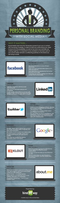 Via The Undercover Recruiter ~ INFOGRAPHIC: How To Boost Your Personal Brand with Social Media Personal Branding means a lot to recruiters. Professional branding on your social media. Many recruiters look to your social media when making a hiring process. Personal Branding, Social Media Branding, Social Media Plattformen, Social Networks, Self Branding, Branding Ideas, Corporate Identity, Business Branding, Brand Identity