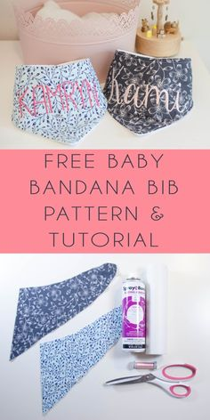 FREE Bandana Bib Pattern and Tutorial with BONUS instructions for Embroidered Customization - Sew Jersey Mama Baby Sewing Projects, Sewing Projects For Beginners, Sewing Tutorials, Sewing Tips, Sewing Ideas, Free Sewing, Sewing Crafts, Bandana Bib Pattern, Baby Bibs Patterns