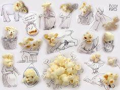 Исполнитель Виктор Нуньес оказывается повседневные предметы в наборах мило и причудливый каракулей.