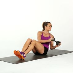 Sit on the ground with your knees bent and your heels about a foot from your butt. Lean slightly back without rounding your spine at all. It is really important, and difficult, to keep your back straight, but don't let it curve. Hold a weight or a medicine ball just below your chest. Keep the weight close you and progress by moving weight further away from your body.  Pull your navel to your spine and twist slowly to the left. The movement is not large and comes from the ribs rotating, not…
