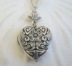 Small Silver Heart Locket Original Wedding by BackstreetCreations
