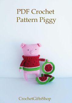 Piggy in sweater Crochet pattern Amigurumi от crochetgiftsshop