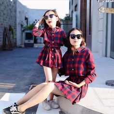 2016 Family Matching Mother Daughter Clothes Plaid Shirt Dress Mom And Daughter Dress Kids Parent Child Outfits High Quality