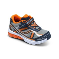 Saucony Baby Ride 7 in Grey/Navy/Orange. #babyboyshoes #toddlerboyshoes #best seller #boyrunningshoes #sauconybabyride