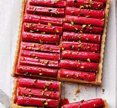 The flavour of everyone's favourite boiled sweet in a delicious dessert. Forced rhubarb adds a pop of colour and sweetness to this tart. Check out our rhubarb guide for more handy rhubarb facts