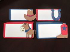 Western Cowboy Cowgirl Food Tents Buffet / Place Cards Birthday Party Horse Pony Red Blue Beige Tan Set of 6 by PeachyPaperCrafts