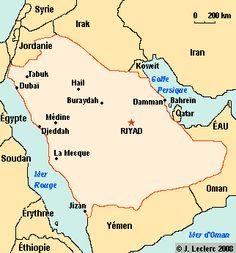 L'Arabie Saoudite porte comme dénomination officielle le nom de royaume d'Arabie Saoudite (en anglais: Kingdom of Saudi Arabia). C'est une pays du Proche-Orient occupant la plus grande partie de la péninsule Arabique. Il est limité au nord par la Jordanie, l'Irak et le Koweït, à l'est par le golfe Persique et le Qatar, au sud-est par les Émirats arabes unis et le sultanat d'Oman, au sud par la république du Yémen et à l'ouest par la mer Rouge et le golfe d'Aqaba.