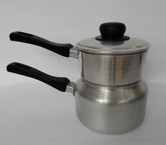Vintage Bain Marie, Double Boiler, Saucepan, shabby chic, retro , boho, kitchenware by Route46Vintage on Etsy