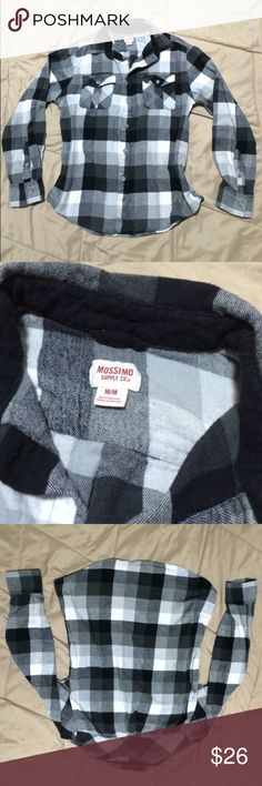 BOGO Grey and black flannel Size medium. Black, grey, light grey, and white. Thick flannel. Pair well with jeans. In like new condition, no flaws. *ship same/next day *no holds/trades *pet free *smoke free home Tops Button Down Shirts
