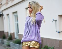 Gold and lilac - Womens Fashion Clothing at Sheinside.com