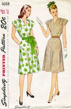 Flattering day dresses from the mid-1940s. Note the details of the gathered shoulder seams and scallops on the dress on the left.
