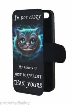 Alice-in-wonderland-inspired-Cheshire-Cat-im-not-crazy-Flip-Phone-Cover-Case