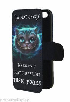 Alice-in-wonderland-inspired-Cheshire-Cat-im-not-crazy-Flip-Phone-Cover-Case