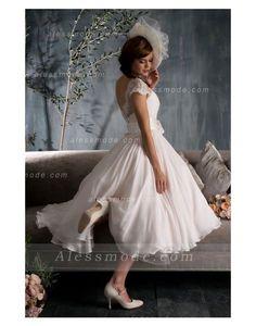 0fb4c118496 belle longueur mollet mancherons forme princesse mousseline de soie robe de  mariée avec fleur(s