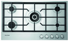 Gas on Steel Hob 90cm 5 Burner (DNG & LPG gas available) CG905DNGX1. This Fisher & Paykel 90cm gas on steel hob with 5 burners is an entertainer's dream with plenty of space for multiple pots and pans.