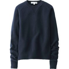 UNIQLO Women Idlf Cashmere Crewneck Sweater ($90) ❤ liked on Polyvore featuring tops, sweaters, blue top, crewneck sweater, blue crewneck sweater, uniqlo and crew neck tops