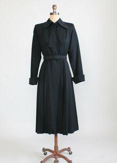 Vintage 1940s Black Wool Gabardine Princess Trench Coat