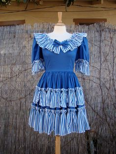 Vintage 60s / Blue and White / Striped / by PlayhouseVintageShop, $42.00