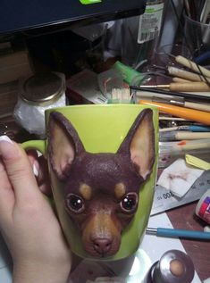 Той-терьер на кружке #полимернаяглина #кружкасдекором #собака Clay Ornaments, Pasta Flexible, Polymer Clay Crafts, Clay Creations, Animals And Pets, French Bulldog, Ceramics, Statue, Videos