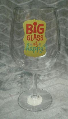 "Hallmark Jumbo Wine Glass ""Big glass of Happy"" holds 5 cups!!! gag joke gift NEW #Hallmark #partygaggiftjoke"