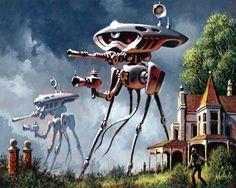 Portadas de Libros The war of the worlds Arte Sci Fi, Sci Fi Art, Fantasy Kunst, Sci Fi Fantasy, Sci Fi Kunst, Science Fiction Kunst, Classic Sci Fi, Alien Art, Sci Fi Movies