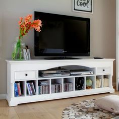 Support all the modern conveniences of today with a little bit of the past with the PROVENCE by Infinita Media Console and Entertainment Center - White. Tv Bord, Living Room Necessities, Large Entertainment Center, Entertainment Room, Cool Tv Stands, Tv Unit, Console Table, Provence, Living Room Furniture