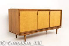Morganton Mid Century Walnut and Cane Sideboard Buffet Credenza Measures 66 wide x 20 deep x 32.25 inches high This piece is available in what we call Restored Vintage Condition. Upon purchase it is fixed so it's free of watermarks, chips or deep scratches with color loss; as well as thoroughly cleaned and any drawers, doors, etc are tested for smooth function - at no extra charge but this takes a bit longer to ship.