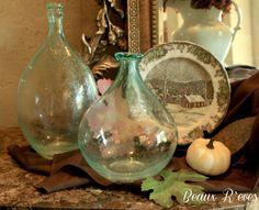 blue-green glass jugs