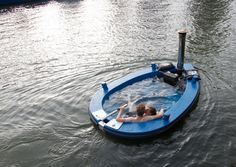 This is a Wood-Fired, Hot Tub Tugboat. WANT