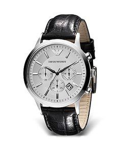 Emporio Armani Round Chronograph Watch with Black Strap, 43mm | Bloomingdale's