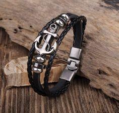 Handmade Leather Men's Anchor Wrap Bracelet