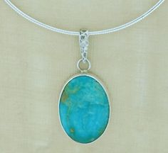 Kingman Turquoise .925 Sterling Silver Necklace Pendant Handmade USA Jewerly