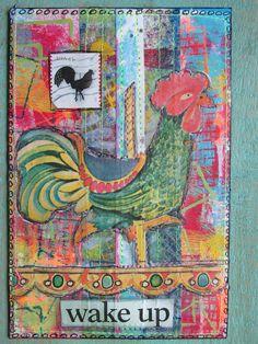 DIY Postcard by Christie Juhasz for the DIY Postcard spring 2015. gelli print background, stitching, vintage ephemera images #diypostcardswap