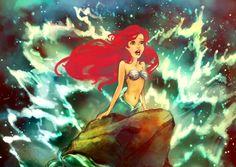 Ariel, Disney's The Little Mermaid singing and splash on a rock.