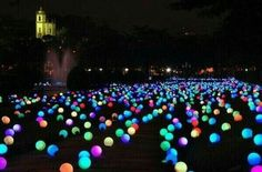 Put glowsticks in balloons and spread throughout the yard-great for parties