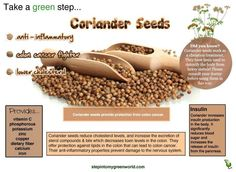The benefits of eating more Coriander Seeds. The mildness of this spice pairs with so many ingredients and it's lemon undertones adds fragrance to almost any dish! Coriander Seeds Benefits, Herbal Remedies, Natural Remedies, Weight Loss Herbs, Colon Health, Diet Books, Healthy Life, Healthy Eating, Healthy Herbs