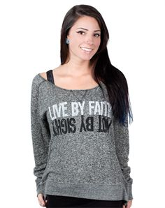 Live By Faith Off Shoulder Top - Christian Womens Fashiontops for $29.99 | notw.com