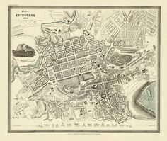 Antique  Edinburgh  city map Print  19 x 23  by AncientShades