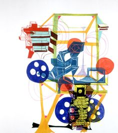 joanne greenbaum, oil and flashe on canvas, 2003 Graphic Design Illustration, Illustration Art, Illustrations, Creativity Exercises, Japanese Prints, Pop Art, Rube Goldberg, Artsy, Steam Punk