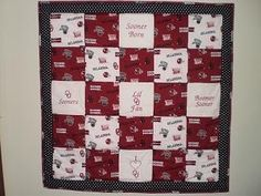 OKLAHOMA SOONERS Embroidered Baby Quilt Hand Tied