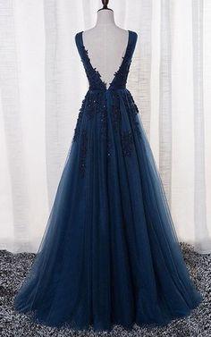 Sleeveless V Neck Long Beaded Tulle Dress