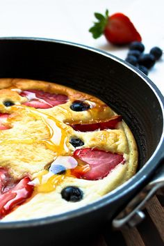 Honey Cloud Pancakes: egg whites & honey, whipped up and baked with fruit for a healthier pancake