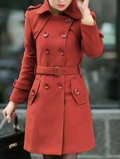 Brick Red Peacoat Turndown Collar Long Sleeve Double Breasted Slim Fit Wool Coat With Sash
