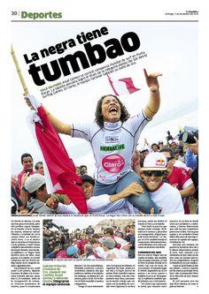 La República / Deportes / Surf / Gabadora / Lima / Analí Gómez / Perú / Olas / Tumbao / Diseño Editorial / Diagramación / Diseño / Campeona