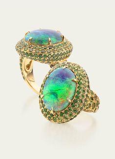 Crystal Opal and Demantoid Garnet Ring Garnet Pavé 18k Gold  @ Tamsen Z