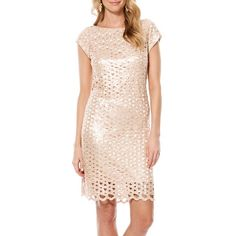 Women's Laundry By Shelli Segal Sequin Geo Cutout Dress (€265) ❤ liked on Polyvore featuring dresses, cream tan, pink sequin cocktail dress, cut out dress, cream dress, cap sleeve cocktail dress and sequined dresses